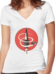Post WWII Hot Rod Roadster Spark Plug Bomb Group Women's Fitted V-Neck T-Shirt