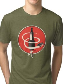 Post WWII Hot Rod Roadster Spark Plug Bomb Group Tri-blend T-Shirt