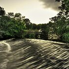 Newlay Weir and Pollard Bridge by m4tthew