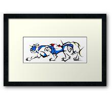 Blue Cubist Voltron Lion Framed Print