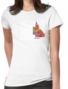 Queensland State Map Womens Fitted T-Shirt