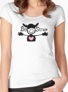 Big sister txt cute smiley face girl One Piece Women's Fitted Scoop T-Shirt