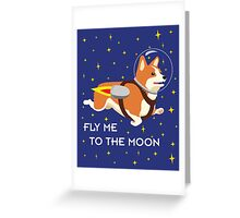 Rocket Corgi Greeting Card
