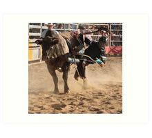 Deniliquin Rodeo 2010  - getting off Art Print
