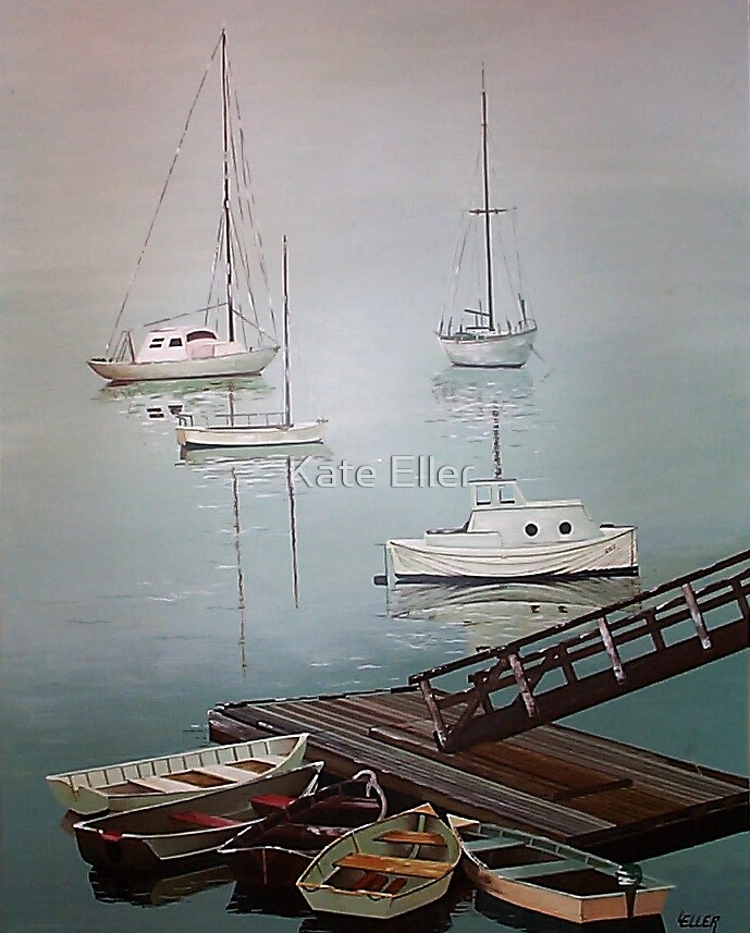 Misty Morning at the Dock by Kate Eller