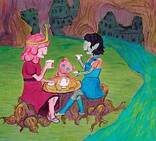Tea Time for the Young Bubblegum and Marceline by oamandapanda