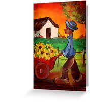 BOY  AND SUNFLOWERS Greeting Card