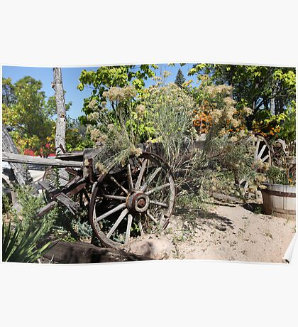 Old West Wagon in the Garden Poster