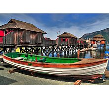 Wooden boats and cabins Photographic Print