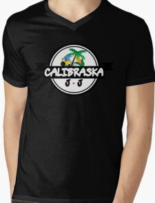 Calibraska Black Logo Mens V-Neck T-Shirt