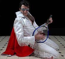Elvis plays Led Zeppelin air guitar.. by Mel Brackstone
