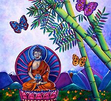 Happy Buddha and Bamboo for Prosperity by Lori Miller