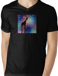 Geometric Giraffe Current Trend Bright  Mens V-Neck T-Shirt
