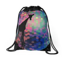 Geometric Giraffe Current Trend Bright  Drawstring Bag