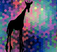 Geometric Giraffe Current Trend Bright  by BenchmarkArt