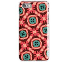 Geometric Pattern Coral Teal Button  iPhone Case/Skin