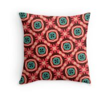 Geometric Pattern Coral Teal Button  Throw Pillow