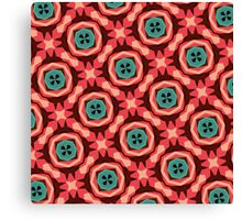 Geometric Pattern Coral Teal Button  Canvas Print