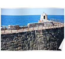 The harbour wall, Portreath. Poster