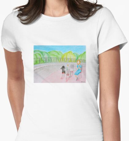 Outdoor cafe Womens Fitted T-Shirt