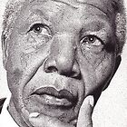 Nelson Mandela, Ink Drawing by RIYAZ POCKETWALA