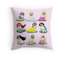 Pug Princesses Throw Pillow