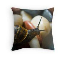 Macro Garden Snail Throw Pillow