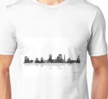 Sacramento, California Skyline - B&W Unisex T-Shirt