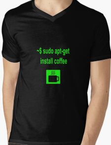 Linux sudo apt-get install coffee Mens V-Neck T-Shirt