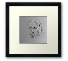 Smoking Nun Print Framed Print