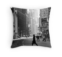 Street Life on Broadway, New York City Throw Pillow