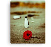 Penguin & poppy Canvas Print