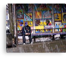 Snowy,Bus Stop, Color Canvas Print