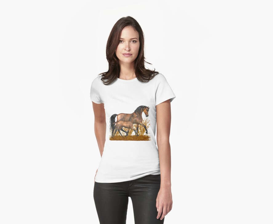 Arabian Mare and foal.. tee shirt by LoneAngel