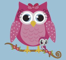 Pretty Pink Owl .. tee shirt Kids Tee