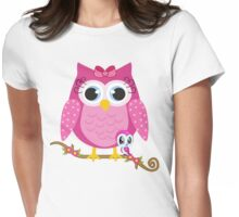 Pretty Pink Owl .. tee shirt Womens Fitted T-Shirt