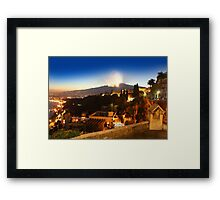 Etna eruption, view from Taormina, Sicily - ITALY Framed Print