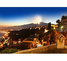 Etna eruption, view from Taormina, Sicily - ITALY Photographic Print