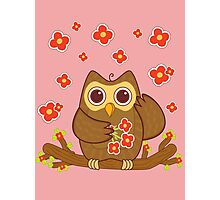 Flower Owl .. tee shirt Photographic Print
