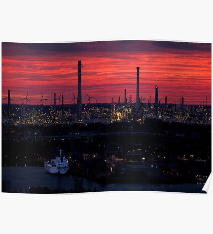 Rotterdam Harbour Skyline at Sunset, from Euromast Poster