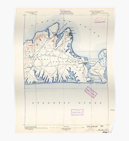 Massachusetts  USGS Historical Topo Map MA Marthas Vineyard 352837 1889 62500 Poster