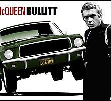 Steve McQueen Bullitt poster by car2oonz