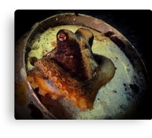 Octopus in a beer can Canvas Print