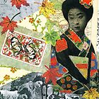 Asian Autumn Collage with Geisha by DebLeigh