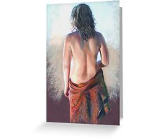 'Girl with Shawl' (Pastel) Greeting Card