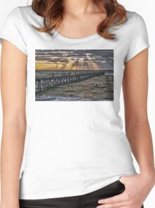 Sunset on the jetty Women's Fitted Scoop T-Shirt