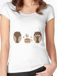 Morning coffee for owls fun creative original design Women's Fitted Scoop T-Shirt