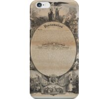 Emancipation Proclamation with Narrative Pictorial by L. Lipman (1864) iPhone Case/Skin