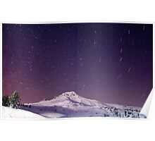 Winter Stars and Mount Hood Poster