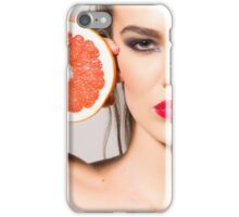 beautiful young girl with an orange in his hand iPhone Case/Skin